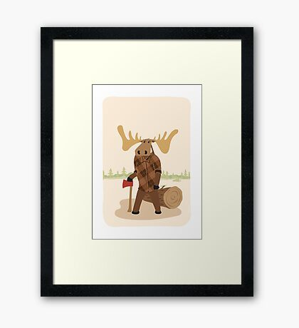 """Timothy McGilicutty the Lumberjack Moose - """"Up North"""" series 3 of 3 Framed Print"""