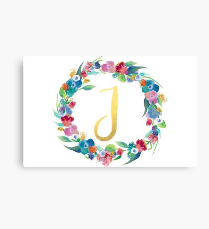Floral Initial Wreath Monogram J Canvas Print