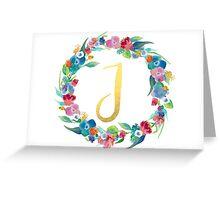 Floral Initial Wreath Monogram J Greeting Card