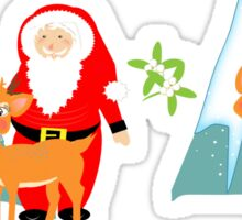 Christmas Santa Claus And His Reindeer In A Festive Snowy Scene Sticker