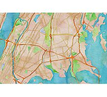 Watercolor map of The Bronx Photographic Print