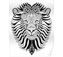 Lion Mandala - Black version Poster