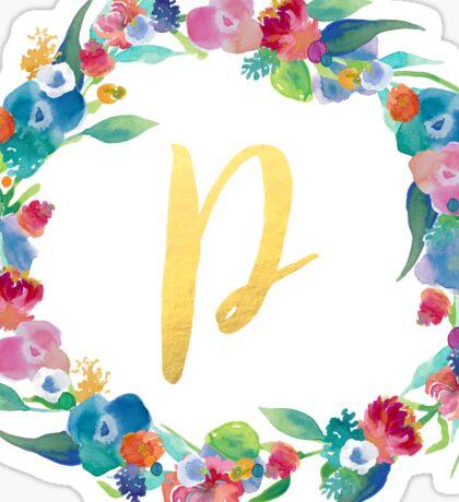 Floral Initial Wreath Monogram P Sticker