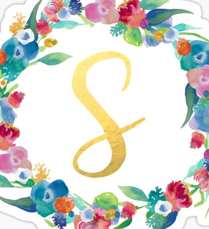 Floral Initial Wreath Monogram S Sticker