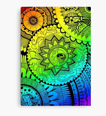Coloured Zentangle Canvas Print