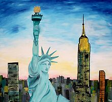 Statue Of Liberty With View Of New York by artshop77