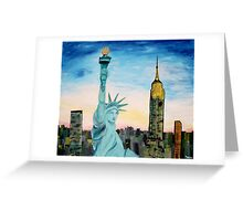 Statue Of Liberty With View Of New York Greeting Card