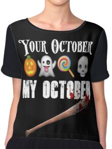 TWD Lucille Baseball Bat Emoji Halloween Design Funny Your October My October Dead Chiffon Top