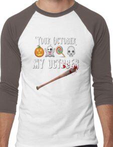 TWD Lucille Baseball Bat Emoji Halloween Design Funny Your October My October Dead Men's Baseball ¾ T-Shirt