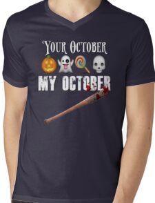 TWD Lucille Baseball Bat Emoji Halloween Design Funny Your October My October Dead Mens V-Neck T-Shirt