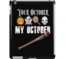 TWD Lucille Baseball Bat Emoji Halloween Design Funny Your October My October Dead iPad Case/Skin