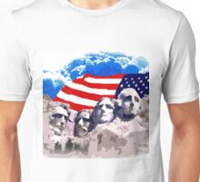 Mount Rushmore  With American Flag  Unisex T-Shirt