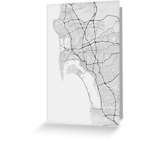San Diego, USA Map. (Black on white) Greeting Card