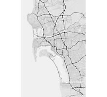 San Diego, USA Map. (Black on white) Photographic Print