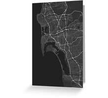 San Diego, USA Map. (White on black) Greeting Card