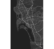 San Diego, USA Map. (White on black) Photographic Print