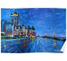 Fairmont Le Chateau Frontenac Quebec Canada By Night Poster