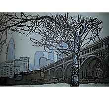 Pen and ink Detroit Superior bridge Cleveland skyline Photographic Print