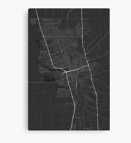 Stockton, USA Map. (White on black) Canvas Print
