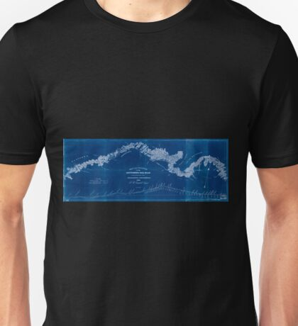 0269 Railroad Maps Map and profile of the Gettysburg Rail Road as surveyed by order of the legislature of Pennsylvania Inverted Unisex T-Shirt