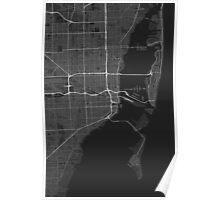 Miami, USA Map. (White on black) Poster