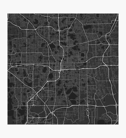 Orlando, USA Map. (White on black) Photographic Print
