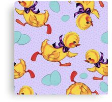 Baby duckling and eggs pattern Canvas Print