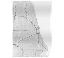 Chicago, USA Map. (Black on white) Poster