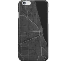 Chicago, USA Map. (White on black) iPhone Case/Skin