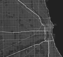 Chicago, USA Map. (White on black) Sticker