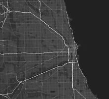 Chicago, USA Map. (White on black) by Graphical-Maps