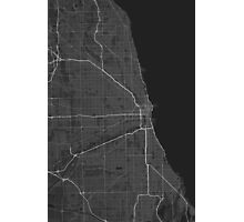 Chicago, USA Map. (White on black) Photographic Print