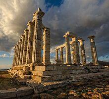 The Temple of Poseidon Cape Sounio Greece  by george papapostolou