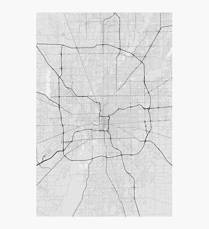 Indianapolis, USA Map. (Black on white) Photographic Print