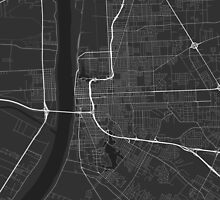 Baton Rouge, USA Map. (White on black) by Graphical-Maps