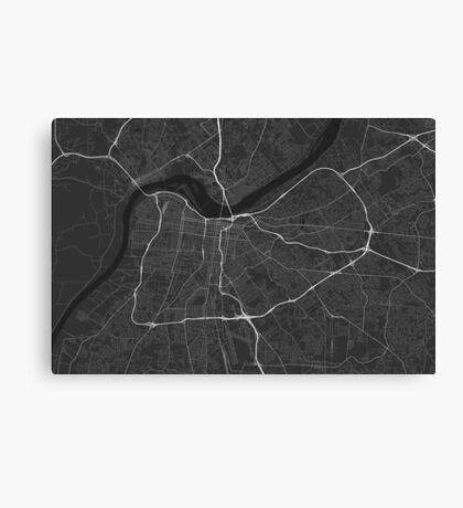 Louisville, USA Map. (White on black) Canvas Print