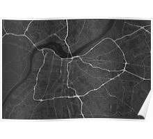 Louisville, USA Map. (White on black) Poster
