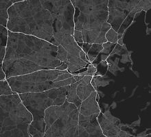 Boston, USA Map. (White on black) by Graphical-Maps