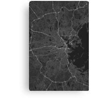 Boston, USA Map. (White on black) Canvas Print