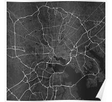 Baltimore, USA Map. (White on black) Poster