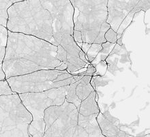 Boston, USA Map. (Black on white) by Graphical-Maps