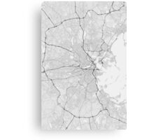 Boston, USA Map. (Black on white) Canvas Print