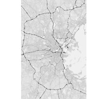 Boston, USA Map. (Black on white) Photographic Print