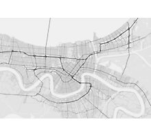 New Orleans, USA Map. (Black on white) Photographic Print