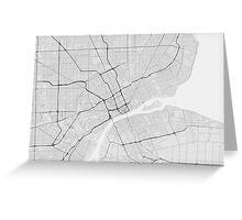 Detroit, USA Map. (Black on white) Greeting Card