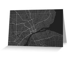 Detroit, USA Map. (White on black) Greeting Card
