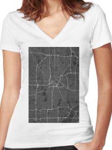 Minneapolis, USA Map. (White on black) Women's Fitted V-Neck T-Shirt