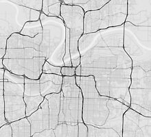 Kansas City, USA Map. (Black on white) by Graphical-Maps