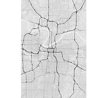 Kansas City, USA Map. (Black on white) Photographic Print