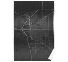 Lincoln, USA Map. (White on black) Poster